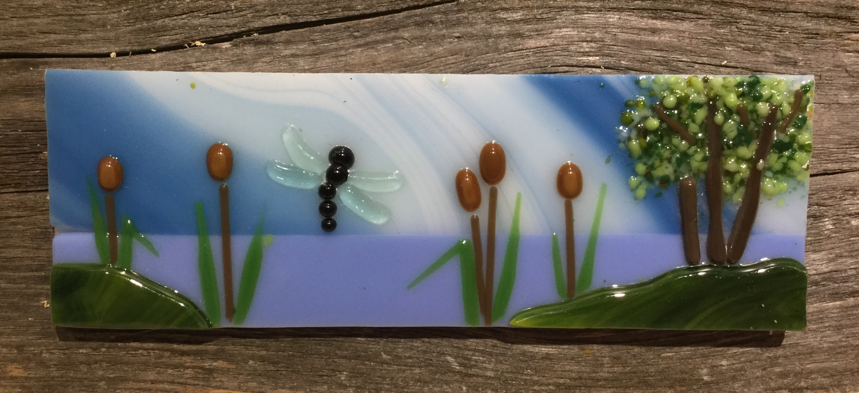 Dragonfly over the Wetland fused glass wall hanging.